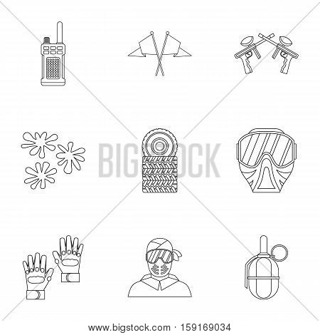 Paintball icons set. Outline illustration of 9 paintball vector icons for web