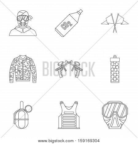 Competition paintball icons set. Outline illustration of 9 competition paintball vector icons for web