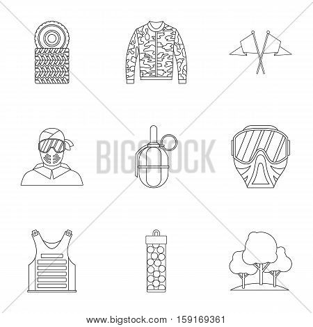 Outfit paintball icons set. Outline illustration of 9 outfit paintball vector icons for web