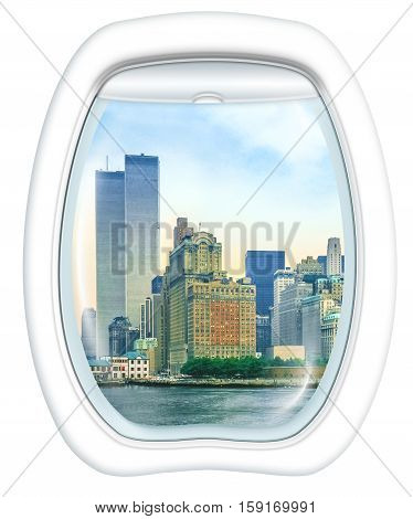 Plane window on New York City with World Trade Center and Twin Towers, Manhattan, United States, from a plane through the porthole. Copy space.