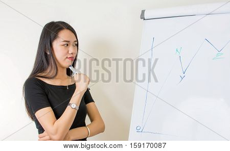 Young asian woman by the flipchart at work