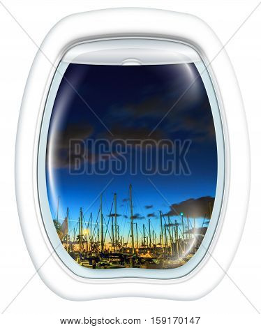 Plane window on Ala Wai Harbor, Honolulu by night, Oahu, Hawaii, from a plane through the porthole. Copy space.