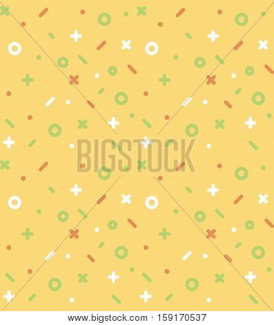 Geometric pattern with circles, dotes, pluses and crosses. Yellow background for the cover of the Memphis style or background