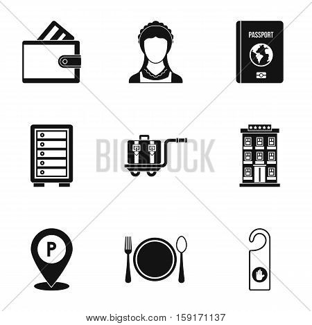 Hostel icons set. Simple illustration of 9 hostel vector icons for web