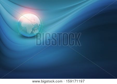 Abstract Global Connection Background Connection lines Around Earth Globe Futuristic Technology Blue Theme Background with 4th Dimension Bend Curves. Global Growing Business Background.