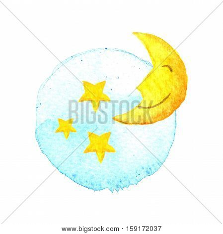 The moon and stars on painted watercolor. Moon and stars icon. Sleep dreams symbol. Night or bed time sign. Moon Stars Baby Blue Yellow Watercolor Hand-painted Illustration Isolated