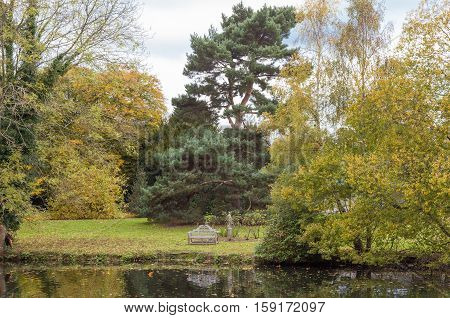 Bench on the lawn by the lake in autumn
