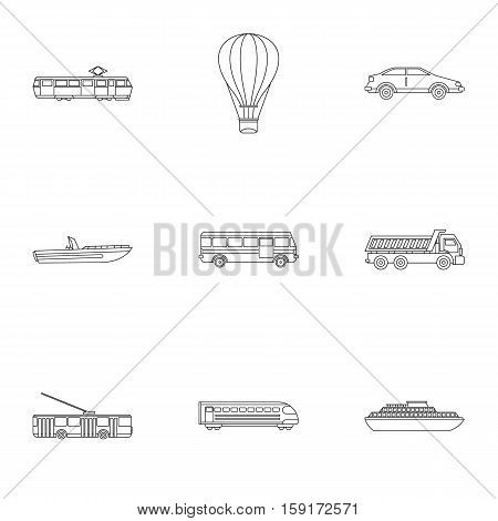 Trip on transport icons set. Outline illustration of 9 trip on transport vector icons for web
