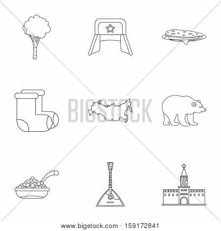 Russia icons set. Outline illustration of 9 Russia vector icons for web