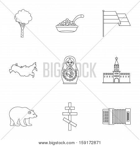Country Russia icons set. Outline illustration of 9 country Russia vector icons for web