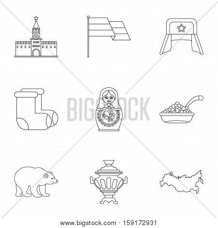 Attractions of Russia icons set. Outline illustration of 9 attractions of Russia vector icons for web