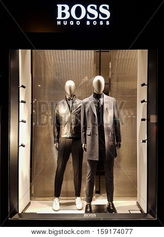 FLORENCE, ITALY - SEPTEMBER 22, 2016: Hugo Boss shop in Florence Italy. Hugo Boss is German luxury fashion and style house founded in Metzingen at 1924.