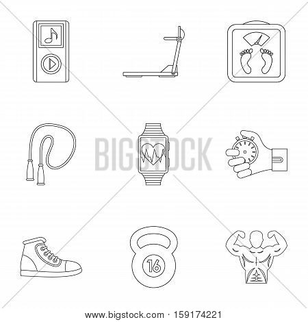 Active lifestyle icons set. Outline illustration of 9 active lifestyle vector icons for web