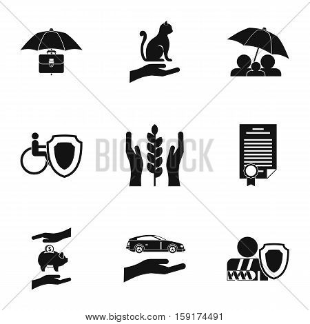 Keeping icons set. Simple illustration of 9 keeping vector icons for web