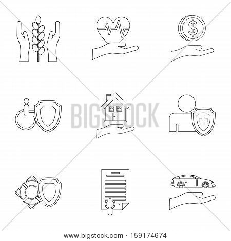 Assurance icons set. Outline illustration of 9 assurance vector icons for web