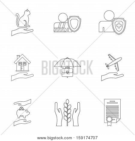Keeping icons set. Outline illustration of 9 keeping vector icons for web
