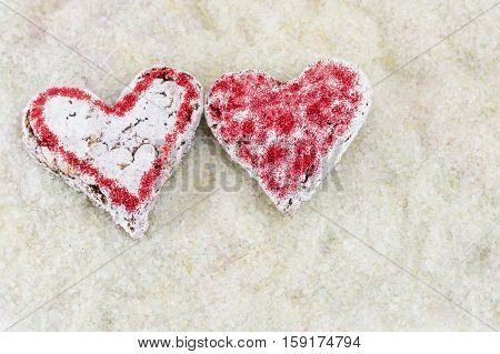 Couple of love decorated heart shaped cookies