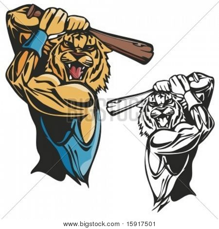 Tiger Baseball Mascot for sport teams. Great for t-shirt designs, school mascot logo and any other design work. Ready for vinyl cutting.