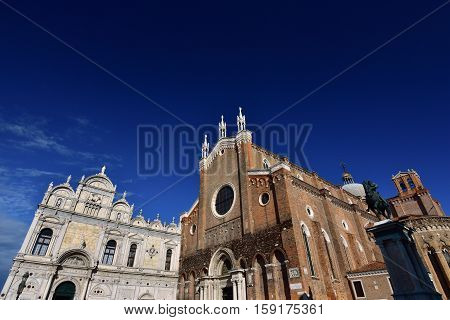 Renaissance Great School of Saint Mark medieval Saints John and Paul Basilica and Bartolomeo Colleoni equestrian monument in Venice