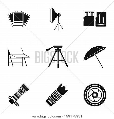 Photographing icons set. Simple illustration of 9 photographing vector icons for web