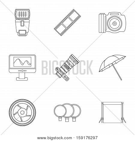 Photographic icons set. Outline illustration of 9 photographic vector icons for web