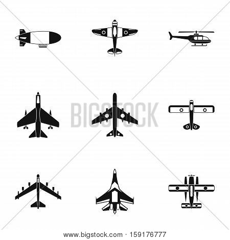 Army planes icons set. Simple illustration of 9 army planes vector icons for web