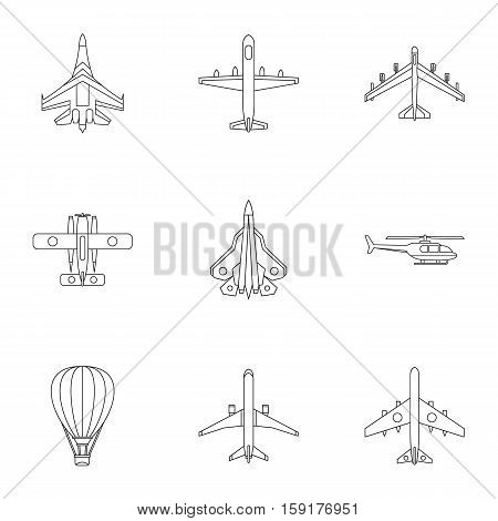Military aircraft icons set. Outline illustration of 9 military aircraft vector icons for web