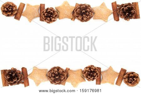 Pine cone, cinnamon, star and heart cookies christmas collection border for greeting card or wallpaper set on white