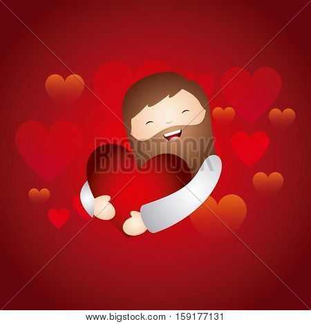 cartoon jesus man hugging a red heart over red background. colorful design. vector illustration