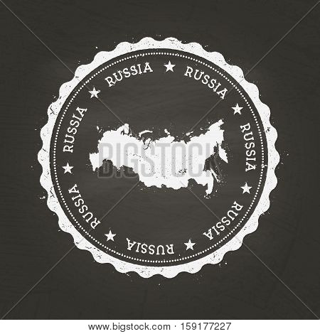 White Chalk Texture Rubber Stamp With Russian Federation Map On A School Blackboard. Grunge Rubber S