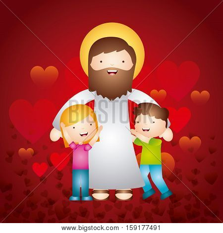 cartoon jesus man with happy kids over red background. colorful design. vector illustration