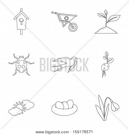 Farming icons set. Outline illustration of 9 farming vector icons for web