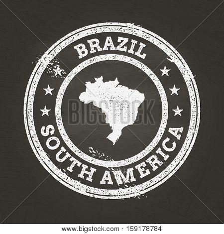 White Chalk Texture Grunge Stamp With Federative Republic Of Brazil Map On A School Blackboard. Grun