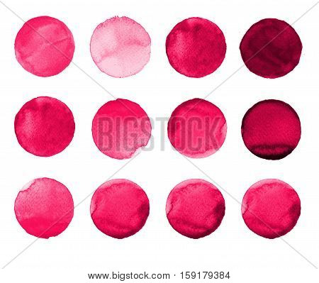 Set Of Rose, Carmine, Red Watercolor Hand Painted Circle Isolated On White. Illustration For Artisti