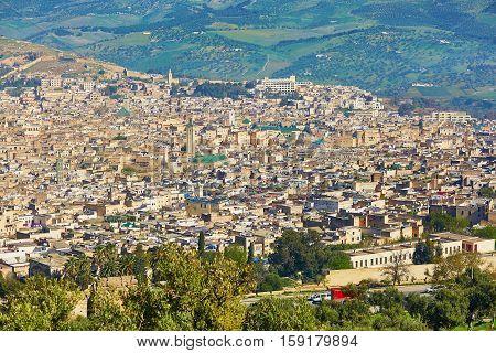 Aerial Scenic Cityscape Of Fez