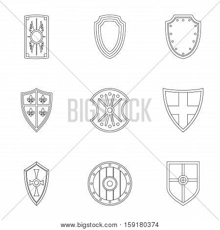 Combat shield icons set. Outline illustration of 9 combat shield vector icons for web