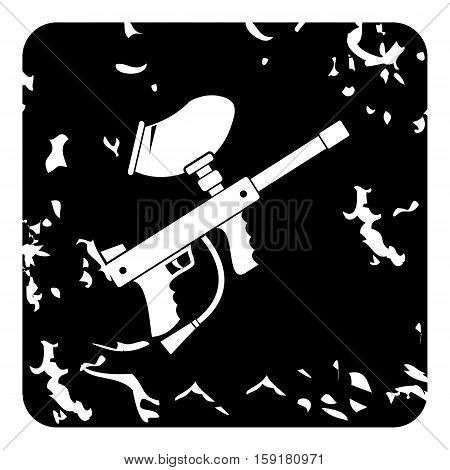 Gun for paintball icon. Grunge illustration of gun for paintball vector icon for web