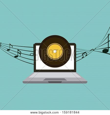 laptop computer with vinyl icon on screen over blue background. colorful design. music and technology design. vector illustration