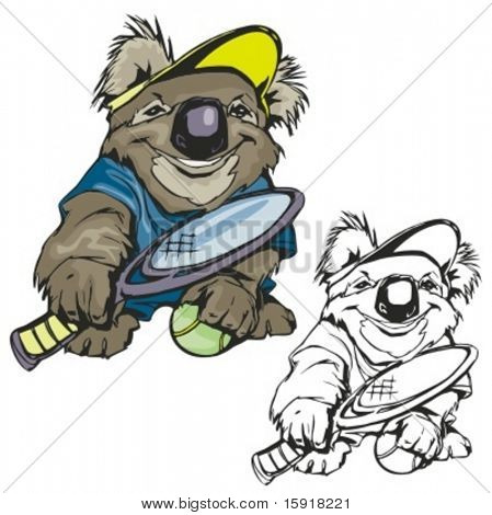 Koala Tennis Mascot. Great for t-shirt designs, school mascot logo and any other design work. Ready for vinyl cutting.