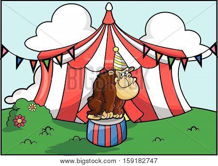 Gorilla circus attraction festival vector illustration design eps 10