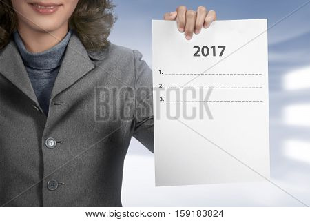 Woman Hold 2017 To Do List