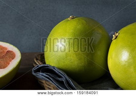 Raw Green Organic Citrus Pummelo Fruit