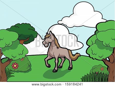 Horse and Forest scenery vector illustration design eps 10