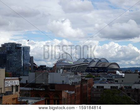 SEATTLE - JUNE 24: CenturyLink and Safeco Field on a cloudy day Seattle in June 24 2016. Home of the Seattle Seahawks (NFL) Mariners (MLB) and Sounders (MLS).