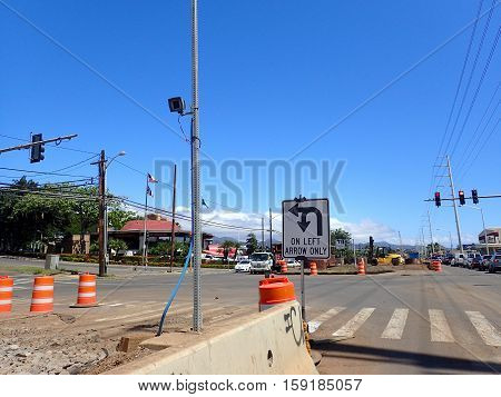 HONOLULU - MARCH 18: HART Light Rail concrete guideway begins construction in road center in Pearlrigde on Oahu Hawaii on March 18 2016. HART is building a 8 billlion dollar railway linking Oahu communities.