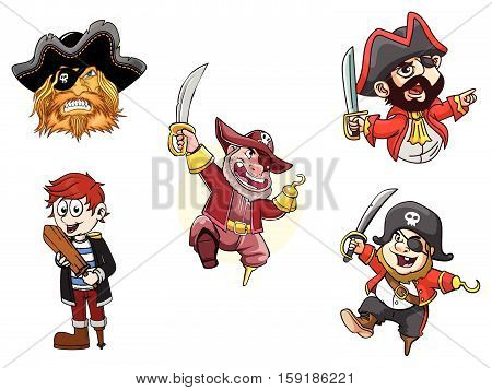 pirates vector illustration design eps 10 collection