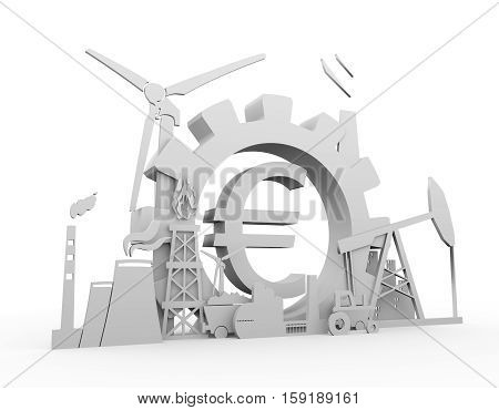 Energy and Power icons set on white backdrop. Sustainable energy generation and heavy industry. 3D rendering. Euro money sign