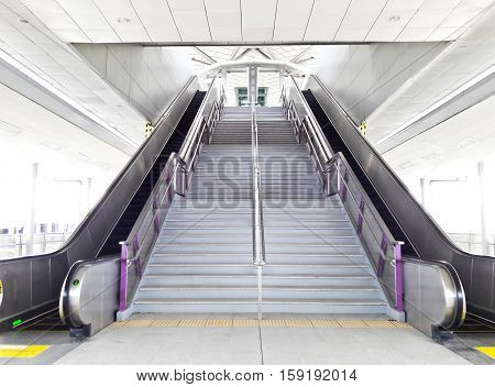 NONTHABURI THAILAND - OCTOBER 1 :Escalator for move up and down at MRT Purple Line skytrain at Bang Yai stationon October 1 2016 in Nonthaburi Thailand