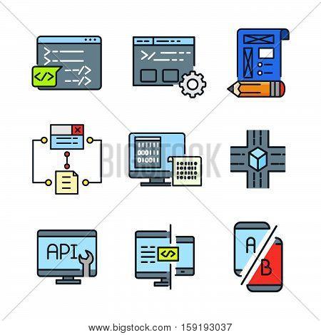 coding icon set color vector illustration design eps 10