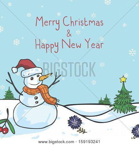 Snowman Christmas Greeting Card Cute Cartoon Vector